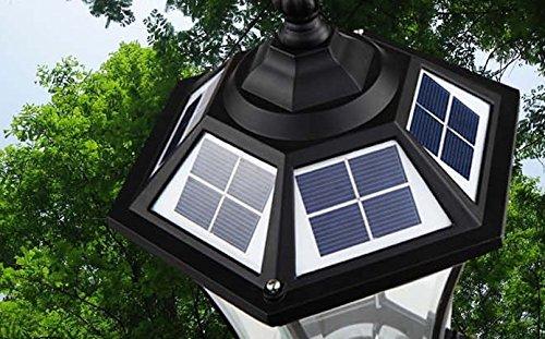The Round Extra Large Solar Post Cap Lights or Solar Pillar, Diameter: 9.8 Inch; Height: 20.5 Inch. Solar Powered Post Caps. Elegantly Designed Solar Light Post Caps (New Metal Black) by Smart Light (Image #7)