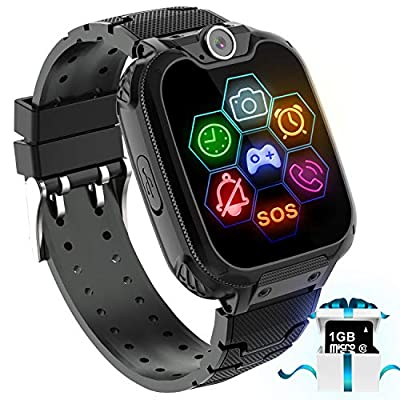 """Kids Game Smart Watch Phone - 1.54"""" Touch Screen Game Smartwatches with [1GB Micro SD Card] Call SOS Camera 7 Games Alarm Clock Music Player Record for Children Boys Girls Birthday Gifts 3-10"""