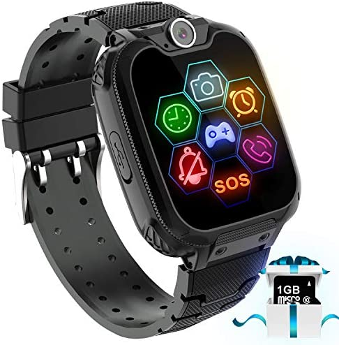 "Kids Game Smart Watch Phone – 1.54"" Touch Screen Game Smartwatches with [1GB Micro SD Card] Call SOS Camera 7 Games Alarm Clock Music Player Record for Children Boys Girls Birthday Gifts 3-10 (black)"