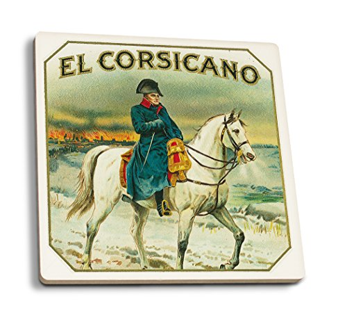 El Corsicano Brand Cigar Box Label - Napoleon on Horseback (Set of 4 Ceramic Coasters - Cork-Backed, ()