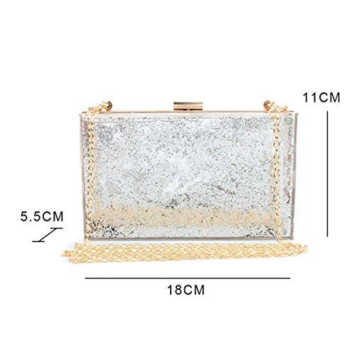 Shoulder Sand Box Paillettes Chain Toogoo New Flow Trend Silver Square Clutch Trasparente Bag Acrilico Single Mini Liquid Color Messenger Ofqx15