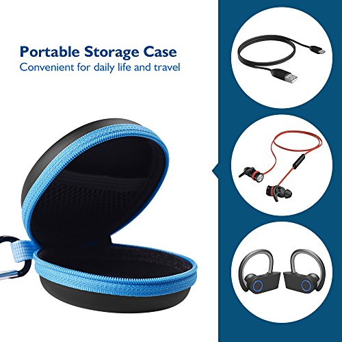 Large Product Image of Sports Headphones Splash Proof Case, HiGoing Portable Protection EVA Hard Earpieces In-Ear Earbud Travel Carrying Cases with Carabiner, Blue