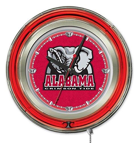 Holland Bar Stool Company NCAA Alabama Crimson Tide Double Neon Ring Logo Clock, 15-Inch Diameter, Chrome