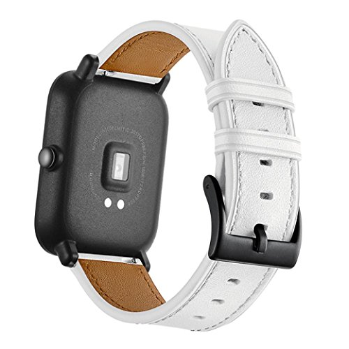Price comparison product image for Quick Release Leather Watch Band,  Boofab Genuine Leather Watch Band Wrist Straps Bracelet for Xiaomi Huami Amazfit Bip Youth Watch (White)