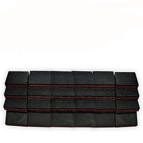 NON SLIP Furniture Pads 24 PCS SQUARE! Premium 2u201d Furniture Feet With Rubber  U0026