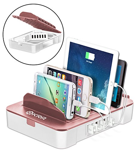 Okra USB Charging Station for Multiple Devices, 6 Port USB Wall Charger Charging Hub with Docking Station Organizer for Phone Tablet iPhone iPad (Rose Gold)
