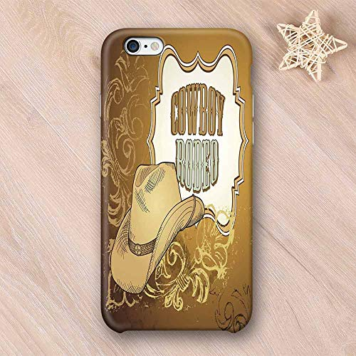 Western Stylish Compatible with iPhone Case,Cowboy Rodeo Themed Framework Vintage Floral Ornaments and Hat Design Decorative Compatible with iPhone X,iPhone 6/6s (Rodeo Mosaic)
