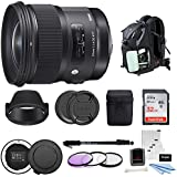 Sigma 24mm F1.4 ART DG HSM Lens for CANON DSLR Cameras w/Sigma USB Dock & 32GB SD CARD Photo Travel Kit
