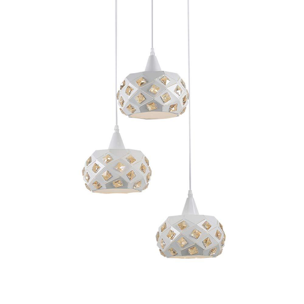 Modern Esstischlampe Aus Metall Und Kristall Weiß Dekor-Hänge-Leuchte Pendellampe Weiß Polygon 3-Flammig E27 Fassung Wohnraum-Lampen Wohnzimmer-Leuchte Küchen-Lampen Esszimmer-Lampen