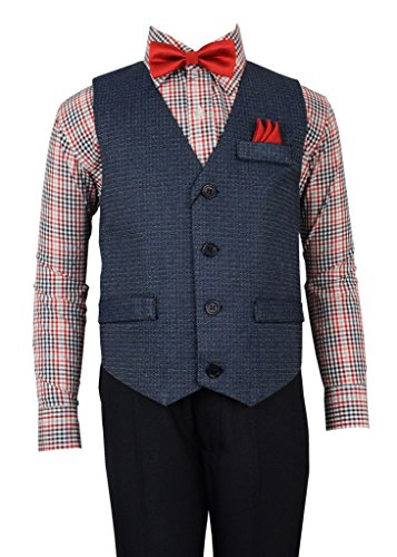 Vittorino Boys 4 Piece Holiday Suit Set with Vest Dress Shirt Tie Pants and Hankerchief,Black/ Red Plaid,10 - Blue Piece Cloth