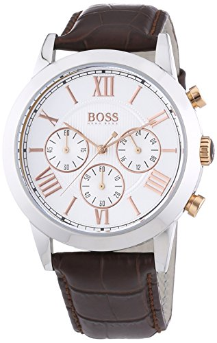 Hugo Boss Gents Stainless Steel Chronograph Watch with Leather Strap