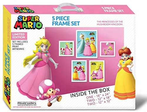 Super Mario Bros Princesses 5 Piece Framed Poster Box Set inch -