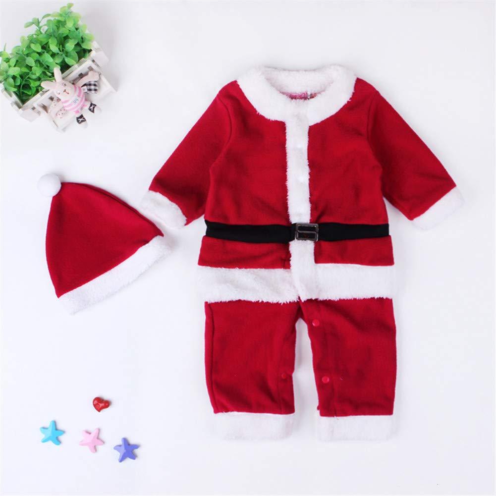 Plush Jumpsuit Santa Claus Snowsuit for Unisex Baby Infant Boy or Girl Long Sleeve Christmas Romper