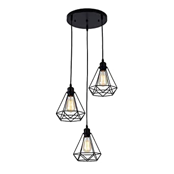 Métal Retro Suspension Luminaire Industrielle,lustre plafonnier vintage  pour cuisine salon salle à manger chambre restaurant café repas ...