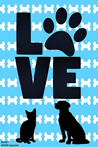 Double Sided Love Cat and Dog Garden Flag 12 x 18 for Cat Dog Pet Owners Lovers