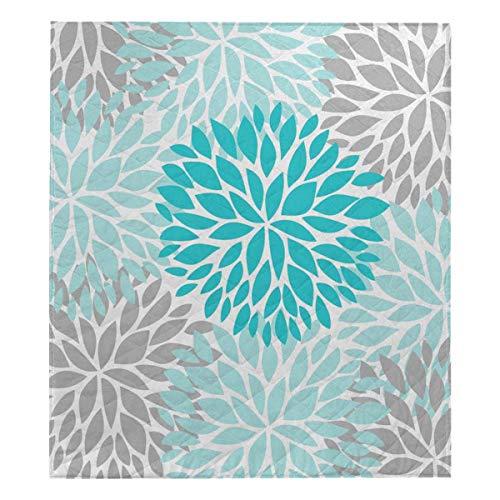 InterestPrint Turquoise Blue and Gray Dahlia Pinnata Flower Thin Quilt Lightweight Comforter Twin 70