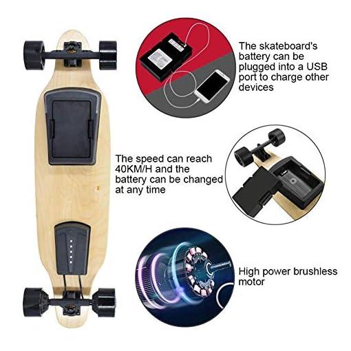 Qinmo Planches à roulettes Standard, Skate-Board électrique Planche à roulettes Pro 40 KM/H Vitesse maximale, Double Moteur Chaque 600W, 8 Couches d'érable Longboard avec télécommande sans Fil cadea