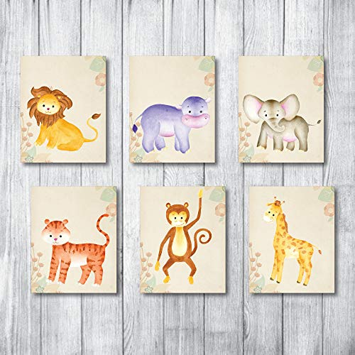 Safari Nursery Decor Jungle Baby Animals Prints for Nursery Decor Art - Large Giant Collection - 6 8x10 UN-FRAMED Neutral Kids Stuff Animal Theme Wall Prints. Elephant Giraffes boy Lion buddies