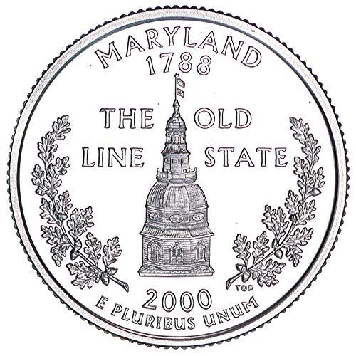 - 2000 S State Quarter Maryland 90% Silver Gem Deep Cameo Proof