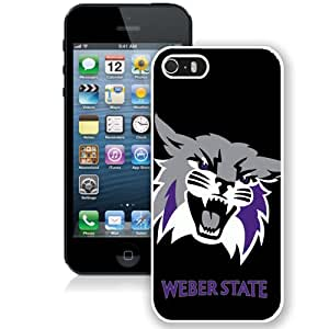 Fashionable And Unique Custom Designed With NCAA Big Sky Conference Football Weber State Wildcats 3 Protective Cell Phone Hardshell Cover Case For iPhone 5S Phone Case White