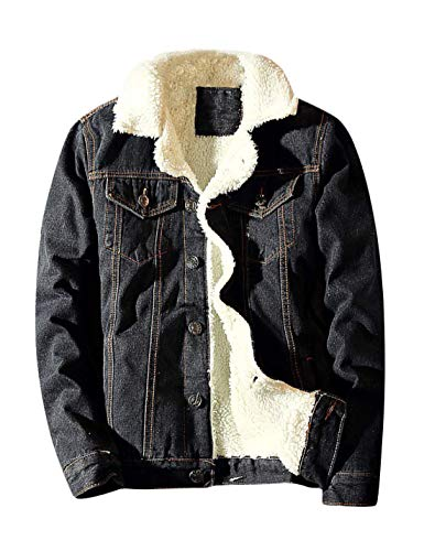 Springrain Men's Winter Sherpa Lined Denim Jacket Windbreaker Trucker Jacket (Black, Large) ()