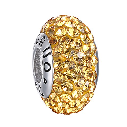 Boruo 925 Sterling Silver Czech Crystal Citrine Glass Ball Charms Beads Spacers November Birthstone Threaded Core Charm Fit All Bracelets.