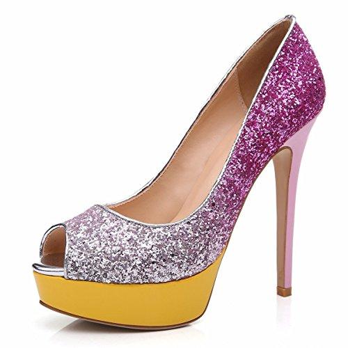 Peep Plateforme Grande Rouge Sandales Multicolore Taille Toe Chaussures Femme Open Escarpins Ubeauty AU1xZqFwU