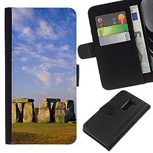 KingStore / Leather Etui en cuir / LG G2 D800 / Arquitectura Stongehenge antigua Isla de Pascua