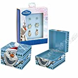 "Mr. Christmas Gold Label Disney Frozen Olaf Musical Keepsake Box Plays ""Do You Want to Build a Snowman"" Includes Three Pair of Stud Earrings"