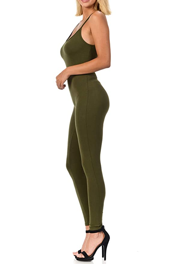 34a632309484 Amazon.com  Fashion Aktiv Womens Spaghetti Strapped Romper Cotton Spandex  Lycra Catsuit Yoga Jumpsuit  Clothing
