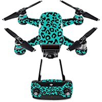 Skin for DJI Spark Mini Drone Combo - Teal Leopard| MightySkins Protective, Durable, and Unique Vinyl Decal wrap cover | Easy To Apply, Remove, and Change Styles | Made in the USA