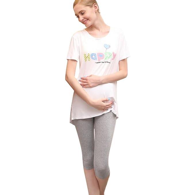 Hibote Pantalones de Verano Embarazadas Estiramiento Leggings Maternidad Siete Pantalones de algodón Modales Suave: Amazon.es: Ropa y accesorios