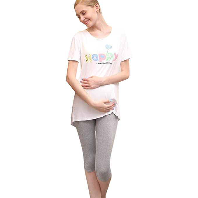 Hibote Embarazada Verano Pantalones Stretch Leggings Maternidad Siete Pantalones de Soft Modal Algodón Gris/L