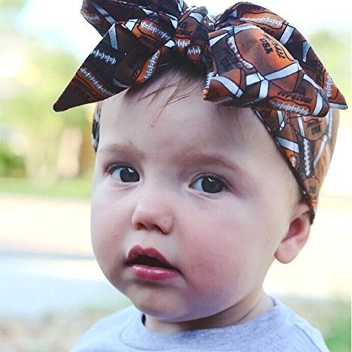 Amazon.com  Brown Football Fabric Top Knot Big Bow Headband Head Wrap f7c2cef73da