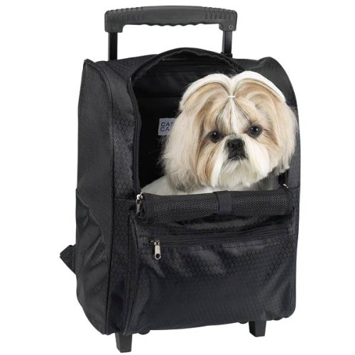 Casual Canine Polyester Deluxe BackPack on Wheels Pet Carrier, Black, My Pet Supplies