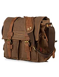 Seasofbeauty Vintage Canvas Leather Satchel School Military Shoulder Bag Messenger Bag Coffee