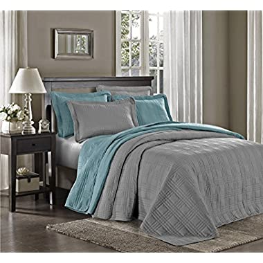 Chezmoi Collection Kingston 3-piece Oversized Bedspread Coverlet Set (Queen, Gray)