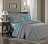 Chezmoi Collection Kingston 3-piece Oversized Bedspread Coverlet Set (King, Gray)