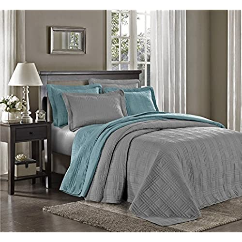 Chezmoi Collection Kingston 3 Piece Oversized Bedspread Coverlet Set (King,  Gray)