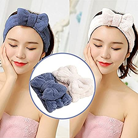 Asnomy Adjustable Cute Microfiber Bowtie Headbands, Ultra Soft Absorbent Hair Band For Makeup Wash Spa Yoga Shower Facial Skincare by Asnomy