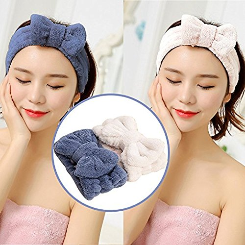 Microfiber Hair Band - ASNOMY Adjustable Cute Microfiber Bowtie Headbands, Ultra Soft Absorbent Hair Band for Makeup Wash Spa Yoga Shower Facial Skincare