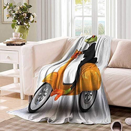AnimalFlannel Single Student blanketSerious Italian Stylish Frog Riding Motorcycle Fun Nature Graphic Urban ArtStudent Blanket 80