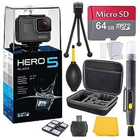 GoPro HERO 5 Black (7 items) + 64 GB Micro SD + Case + Accessory Bundle