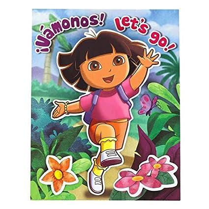 Amazon Com Dora The Explorer Party Invitation Card 7 X 5 Pack