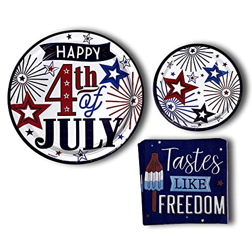 4th of July Patriotic Red White Blue Fourth Birthday Party Pack Paper Plates Bundle - Disposable Tableware set includes 18 Americana Dinner Plates - 18 Dessert Plates - 32 Tastes - Americana Plate