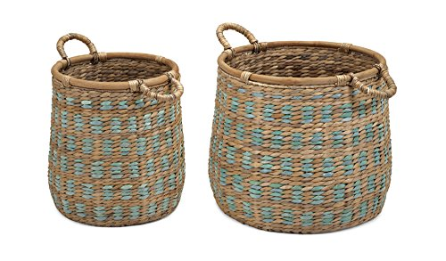 Organic Hyacinth Storage baskets - Set of 2 by Benzara