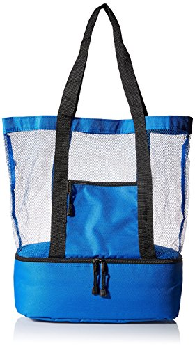 Travelwell Fashionable Beach Picnic Outdoor 12 Drinks Mesh Cooler Bag Tote, Blue