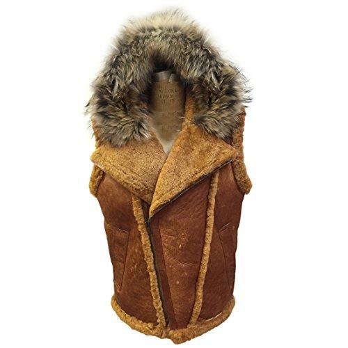 Coat Brown Fox Fur (Jakewood Men's Winter Shearling Vest with Hood and Fox Fur (2X-Large, Habano))