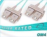 0.5M OM4 SC SC Fiber Patch Cable | 100Gb Duplex 50/125 SC to SC Multimode Jumper 0.5 Meter (1.64ft) | Length Options: 0.5M-300M | FiberCablesDirect | 10g 40g sc-sc mmf sc/sc patch-cords dup lszh ofnr