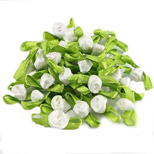 Boutique Rosette - 48pcs 20mm Rosette Satin Flower Head Girls Boutique Mini Hair Bow Headwear (White)